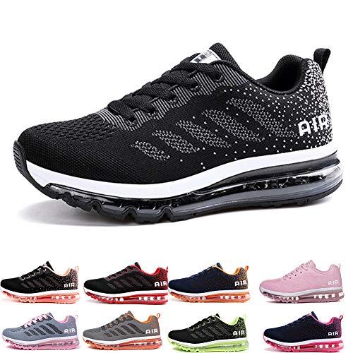 frysen Herren Damen Sportschuhe Laufschuhe mit Luftpolster Turnschuhe Profilsohle Sneakers Leichte Schuhe Black White 40