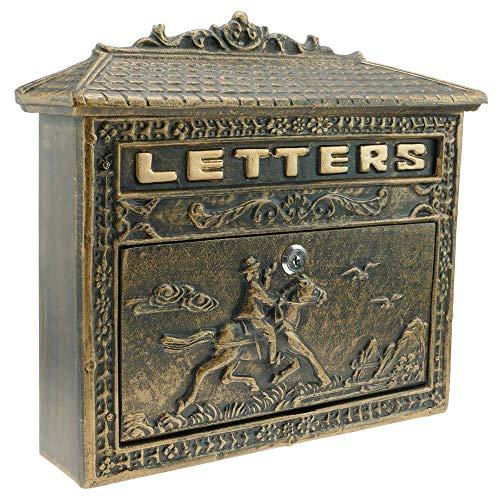 PrimeMatik - Briefkasten Postkasten Retro Antik Vintage Gusseisen Schwarze Oxid für wallmount Pferd