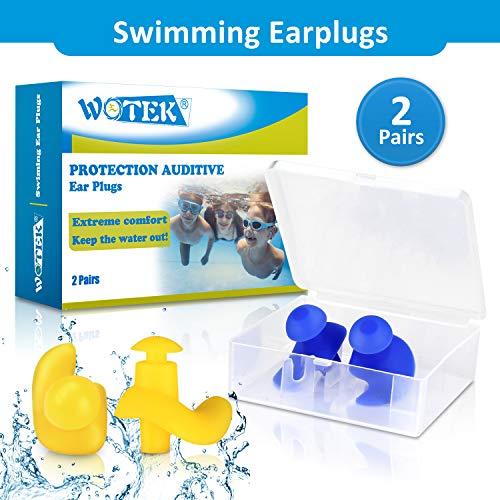 WOTEK Ohrstöpsel Schwimmen 2 Paar wasserdichte Wiederverwendbare silikon ohrstöpsel, weiches Silikon, geeignet zum Schwimmen, Duschen, Wassersport—Männer und Frauen (gelb & blau)