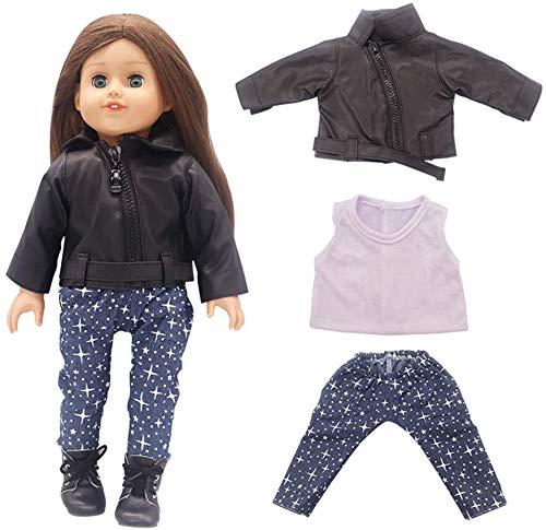 Yeaser Puppenkleidung für 46 cm große American Girl Puppen-Outfits – Lederjacke, T-Shirts und Hose, Kostüm, Spielzeug, Zubehör