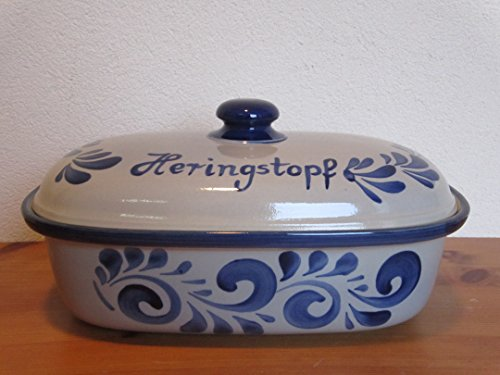 Nik.Schmitt & Sohn Heringstopf oval Grau Blau Steinzeug-Soonwald
