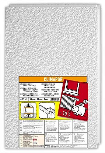 CLIMAPOR Energiespar-Deko-Dämmplatte, weiß, 58 x 38 x 3 cm, 8 Packstücke (ca. 7,2 qm)
