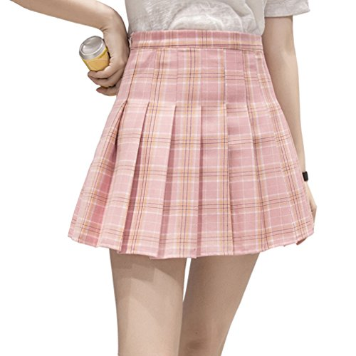 Hoerev Frauen Mädchen Kurze hohe Taille gefaltete Skater Tennis Schule Rock,Pink Stripes,34 / S