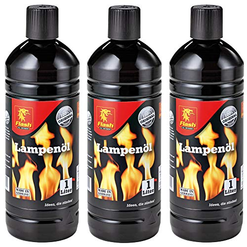 3 Liter (3x 1 Liter) Flash Lampenöl Petroleum-Lampen Garten-Fackel Öl
