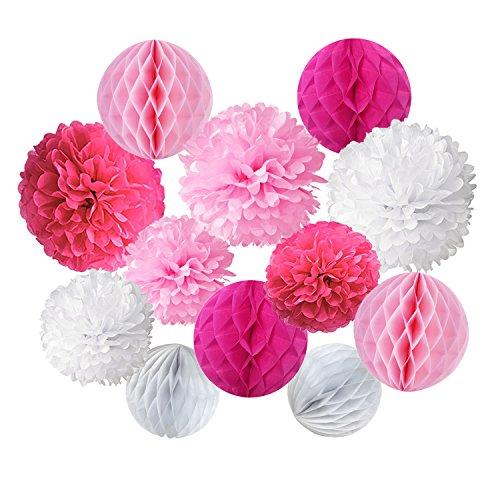 Cocodeko 12 Stück Papier Pompoms und Wabenbälle Dekorpapier Kit für Geburtstag Hochzeit Baby Dusche Parteien Hauptdekorationen - Rosa, Pink und Weiß