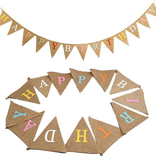 13STK Geburtstag Wimpelkette, Leinen Happy-Birthday Girlande mit Großbuchstabe Wimpeln für Geburtstag Party