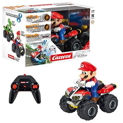 Carrera RC Mario Kart 8 Mario Quad │ Ferngesteuertes Auto ab 6 Jahren für drinnen & draußen │ Mini Mario Kart Auto mit Fernbedienung zum Mitnehmen │ Spielzeug für Kinder & Erwachsene