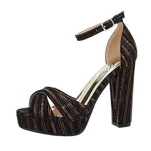 Ital-Design Damenschuhe Sandalen & Sandaletten High Heel Sandaletten Synthetik Gold Schwarz Gr. 39