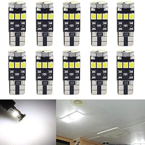 Qoope- 10 Stück T10 12V Canbus Fehlerfreie Glühlampen ersetzen die Lampe 194 168 501 (Weiß)