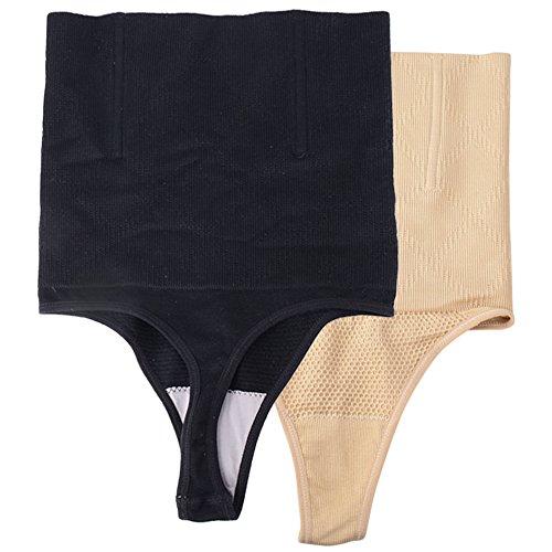 JNCH (Schwarz + Hautfarbe) 2 Stück Miederslip Damen Mieder String figurenformend mit Bauch Weg Effekt Miederpants Miederhose Butt Lifter Shaper Shapewear Miederslips