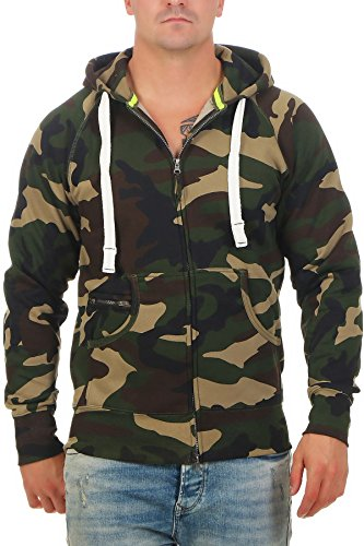 Happy Clothing Herren Sweatjacke Zip Hoodie Kapuzenjacke Militär Tarnmuster Camouflage, Größe:M, Farbe:Grün