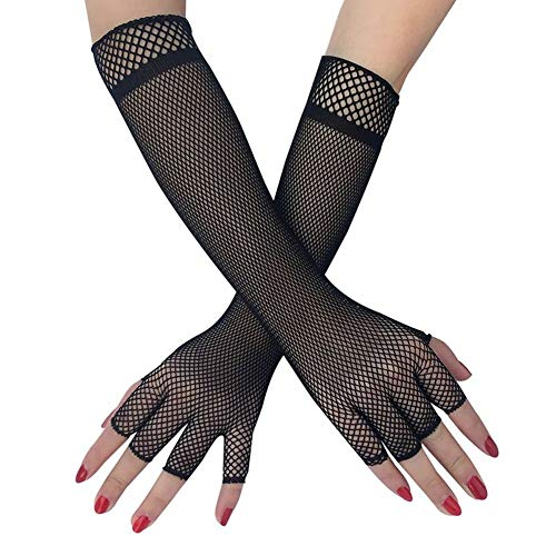 EROSPA® Lange Netz-Handschuhe / Hand-Stulpe - Fishnet - Damen - Schwarz
