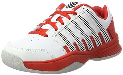 K-Swiss Performance Unisex-Kinder Court Impact LTR Carpet Tennisschuhe, Weiß (White/Fiery Red/Black), 37 EU
