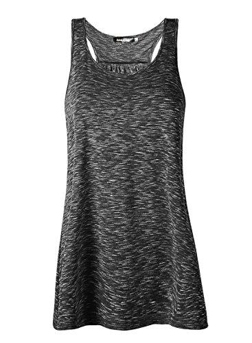 Lantch Damen Tank Top Sommer Sports Shirts Oberteile Frauen Baumwolle Lose for Yoga Jogging Laufen Workout, L, Schwarz