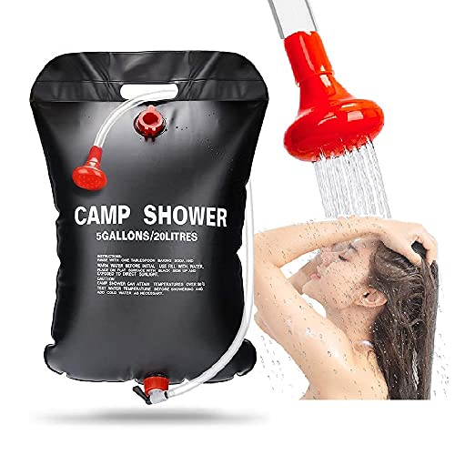 RUTIDA Solardusche Camping, 20L Campingdusche Solardusche Tasche Tragbare Outdoor Warmwasser Dusche Camping Dusche Reisedusche mit Duschkopf, Schlauch und Seil zum Aufhängen
