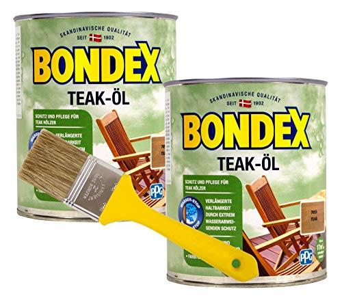 Bondex Teaköl in teak Hartholzöl Holzöl Holzschutzöl 1,5L + Pinsel