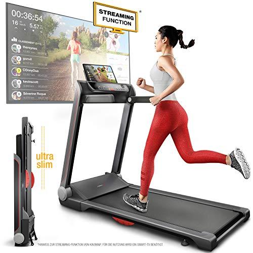 Sportstech FX300 Ultra Slim Laufband – Deutsche Qualitätsmarke - Video Events & Multiplayer APP, Riesen Lauffläche 51x122cm & kein Aufbau, 16 km/h,USB Ladeport, Pulsgurt kompatibel für Cardio Training