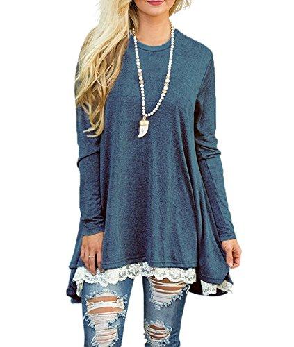 Bequemer Laden Pullover Damen Strickpullover Casual Loose Sweater Lange Sweatshirt Langarmshirt Oberteile Tunika Vorderer Saum mit Spitze