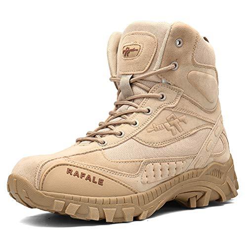 Dannto Herren Military Stiefel Tactical Arbeit Stiefel Army Stiefel Wanderstiefel Trekkingstiefel Atmungsaktive für Outdoor Camping Wandern Bergsteigen Wüsten Offroad Angeln Jagen (Khaki,42)
