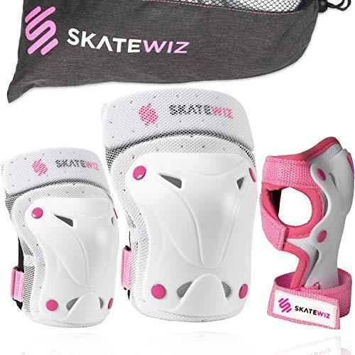 SKATEWIZ Protect-1 Schutzausrüstung - Größe L in ROSA - Inline Protektoren Inliner Damen - Schonerset Erwachsene