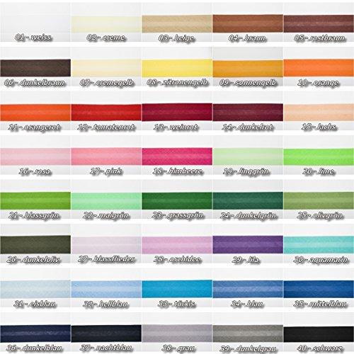 Jajasio Baumwoll Schrägband 25mm breit in 40 Farben, Einfassband Baumwolle Nahtband/Farbe: 01 - weiss