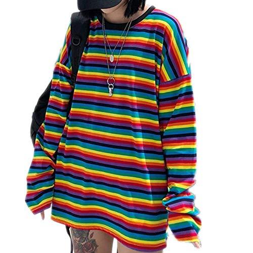 Tasty Life Gestreiftes Sweatshirt Regenbogen Frauen T-Shirt, Farbe Rundhals Top Harajuku Lässige Langarm Lose Elegantes Hemd T-Shirt Herbst Chic Top Pullover Top(M)