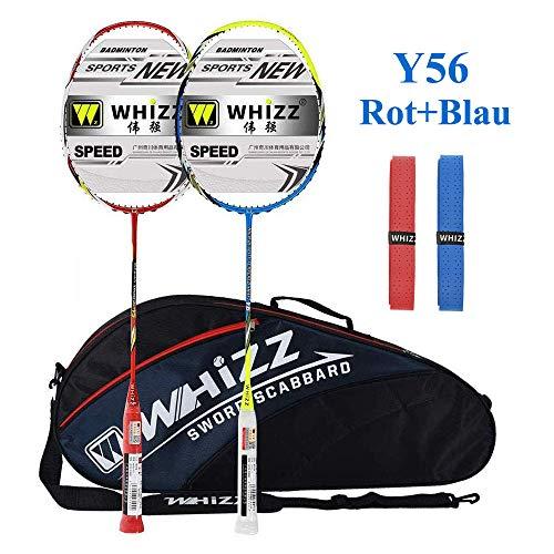 Whizz Kratzfestes Design Badminton Schläger Racket Set mit Tasche Griffband, 100% Graphit (Y56 Rot+Blau)
