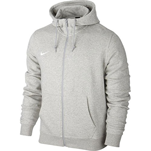 Nike Herren Sweatshirt Team Club Full Zip Kapuzenpullover, Grey Heather/White, L