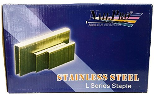 NailPro 1/4 Crown x 1 Leg Stainless Steel - 5,000 pcs. of L Series Staples - JAL13SS by Nail Pro