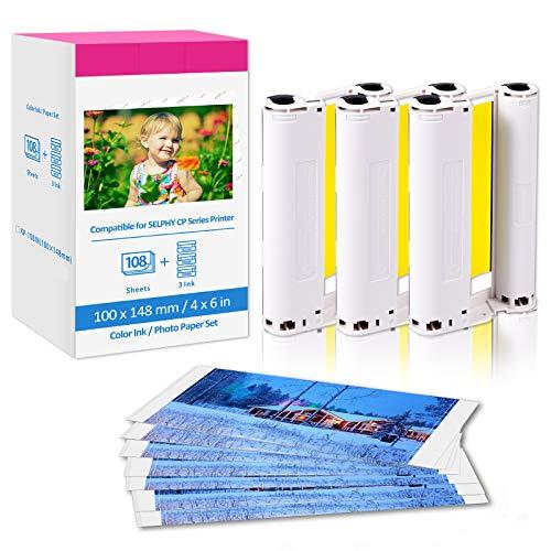 Ersatz Canon Selphy KP-108IN für Selphy CP CP1300 CP1200 CP910 CP800 CP820 CP780, Fotoset KP-108IN kompatibel für Canon Selphy Fotodrucker,108 Blatt Foto Papier (100 x 148 mm) + 3 Farbkartusche