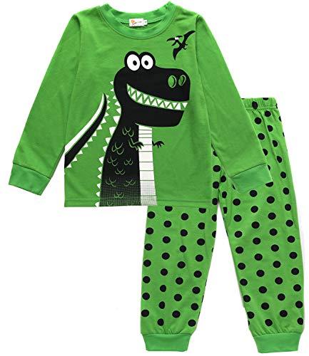 EULLA Schlafanzug Jungen Zweiteiliger Baumwolle Kinder Nachtwäsche 1-dinosaurier 98