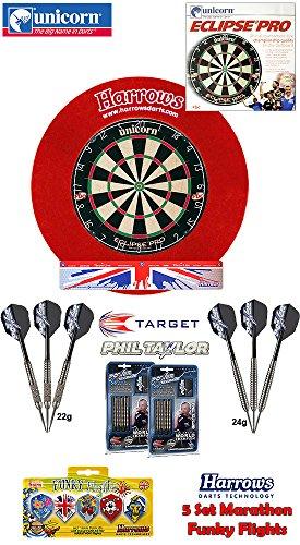 Unicorn Eclipse Pro Dartboard/Dartscheibe + Surround für Dartboards + 2 Set Target Phil Taylor Darts + Abwurflinie + 5er Set Flights