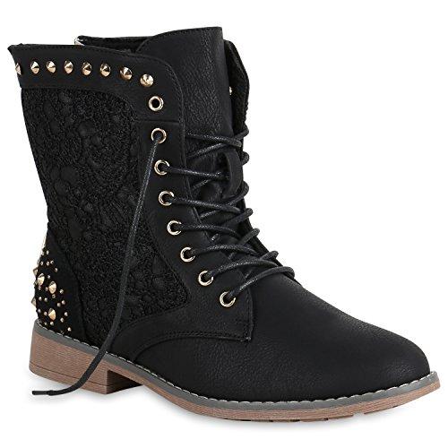 Schnürstiefeletten Damen Stiefeletten Spitze Nieten Schuhe 147515 Schwarz Nieten 37 Flandell