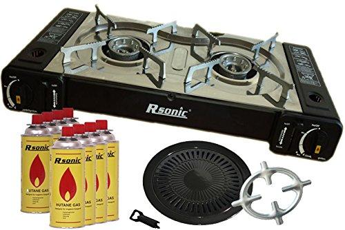 Doppel Gaskocher 2 flammig Campingkocher 2er Kocher 2 x 2,3 KW + Grillaufsatz Grillplatte + 8x Gaskartuschen + Phönix Gasherdkreuz