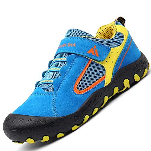 Mishansha  Kinder Schuhe für Draußen Jungen Freizeitschuhe Atmungsaktivität Schweiß Absorbierend Flach Tennisschuhe Mädchen Patchwork Hallenschuhe, 32 EU, Blau