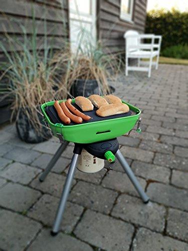 Multi Grill Deluxe Balkon Terrasse Park mobiler Party Gas-Grill Tischgrill mit Fettauffang und Grillplatte mit Piezozündung Zum Grillen und Kochen