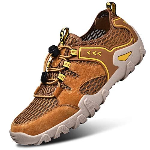 FLARUT Herren Outdoorsandalen Sommer Wanderschuhe Trekking Sandalen Super Atmung Laufschuhe Wanderhalbschuhe Lässige Sneaker Sportsandalen(braun,39)