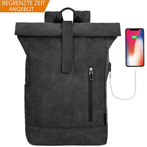 Tocode Laptop Roll Top Rucksack Canvas, Fit 16,5