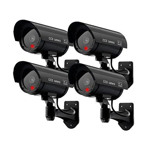 Erwei Unechte Überwachungskamera Dummy künstlich CCTV Sicherheitsüberwachungskamera Outdoor mit Blinkendem Rotem LED-Licht (Schwarz) (Schwarz)