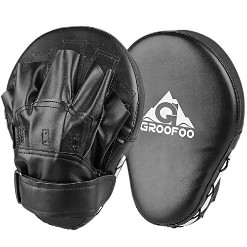 GROOFOO PU Handpratzen Doppelpolster Kickboxen Boxen Pratzen Für das Target Sparring Training, Boxen Pads für Kinder & Erwachsene MMA, Muay Thai, Karate, Dojo, Taekwondo - Schwarz