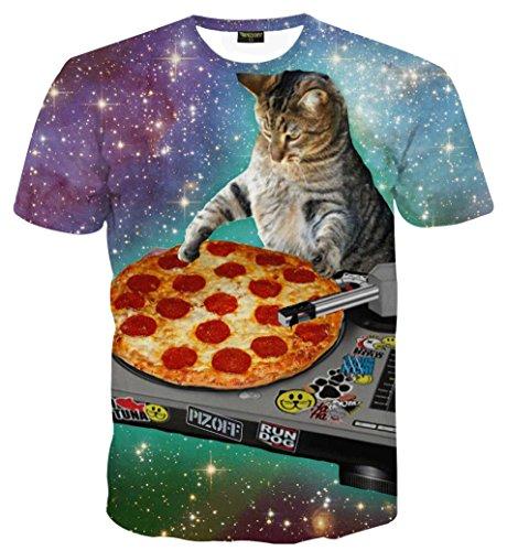 PIZOFF Unisex Digital Print Schmale Passform Katze T Shirts mit Katzen Cat 3D Muster AL067-28-XL-RX