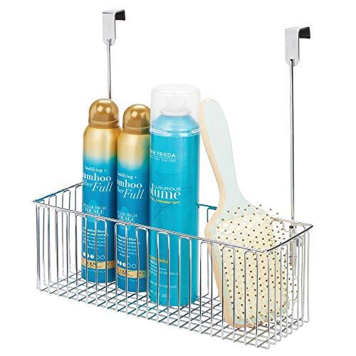 mDesign Aufbewahrungskorb für Badutensilien – praktischer Regalkorb aus Metall für Shampoo, Duschgel etc. – einfach zu montierender Schrankkorb zum Hängen – silberfarben