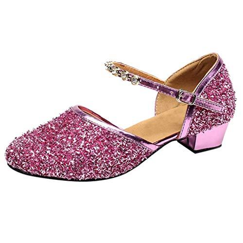 Tanzschuhe Damen Standard Latein Funkeln Dance Schuhe Ballsaal Salsa Tango Tanzen Schuhe Hochzeit Abendschuhe Knöchelriemen, Celucke Klassische Pumps Elegante Brautschuhe (Pink, 39 EU)