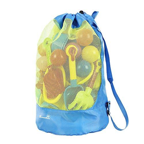 Strandspielzeug Tasche Strandtasche Mesh Beach Bag EocuSun für Sandspielzeug Wasserspielzeug Rücksack Beutel für kleinkind Kinder Jungen Mädchen Badetasche XL groß für Familie Urlaub (Himmelblau)