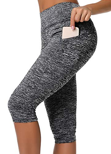 INSTINNCT Damen Doppeltaschen Sport Leggings 3/4 Yogahose Sporthose Laufhose Training Tights mit Handytasche Capris(normal) - Grau L