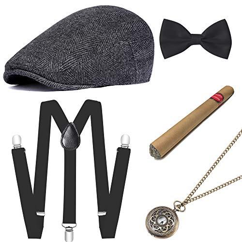 ArtiDeco 1920s Herren Accessoires Mafia Gatsby Kostüm Set inklusive Panama Gangster Hut Verstellbar Elastisch Hosenträger Herren Halsschleife Fliege Taschenuhr und Plastik Zigarre (Set-4) (Set, L)