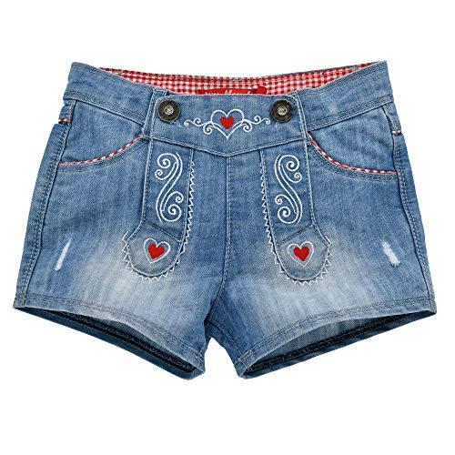 Alpenglück Kinder-Trachten Jeansshorts aus Baumwolle Gr. 128 I Schöne Mädchen-Shorts in Blau I Lange Jeans-Hose für Kinder & Kleinkinder I Kinderhose aus Denim I Wunderschöne Kinderbekleidung