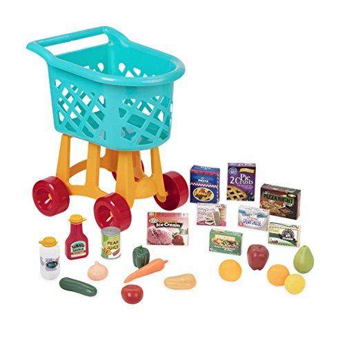 Battat BT2535C1Z Deluxe Einkaufswagen Spielzeug Set-mit Lebensmitteln-für Kinder ab 3 Jahren-23 Teile
