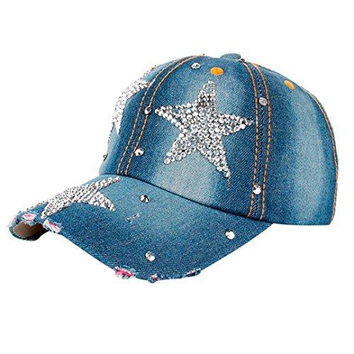 OYSOHE Sonnenschutz Kopf Herren Damen, Neueste Frauen Männer Sterne Denim Strass Baseballmütze Outdoor Hut Snapback Hip Hop Flachen Hut
