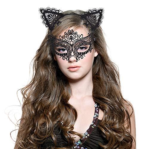 Haarreif Katzenohren & Lace Masquerade Set, [ Süße, Sexy & Komfort ], Haarreifen mit Ohren   Haarbänder Katze   Masks Damen   Maskenspie Kopfband Kostüm Accessories für Frauen